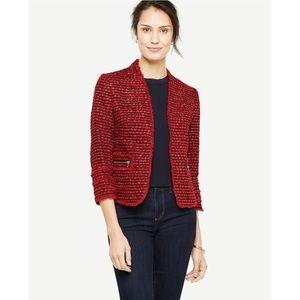 Ann Taylor Red Fringe Tweed Career Blazer